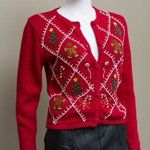 Vintage UGLY XMAS CHRISTMAS SWEATER CARDIGAN ~ Red